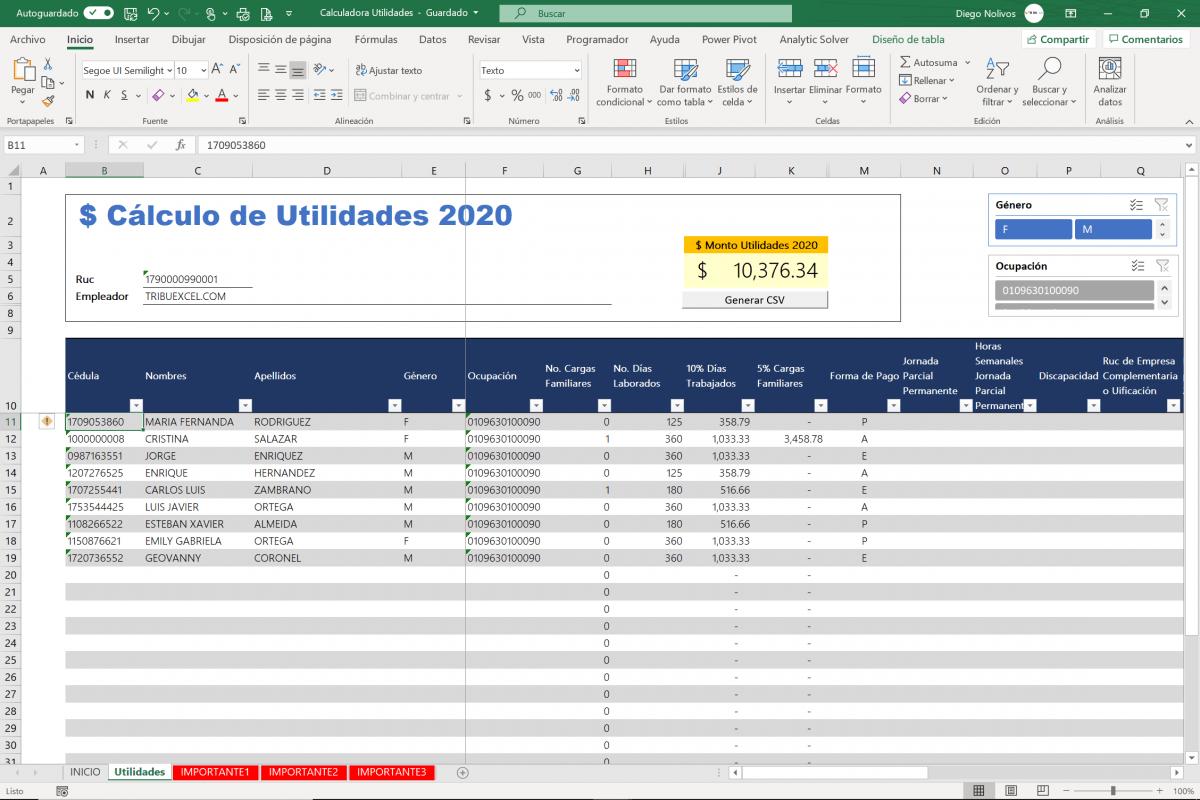 Plantilla Excel cálculo participación utilidades a trabajador